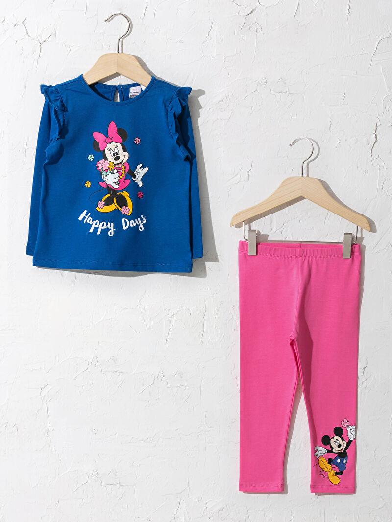 Mavi Kız Bebek Minnie ve Mickey Mouse Baskılı Takım 0WDP58Z1 LC Waikiki