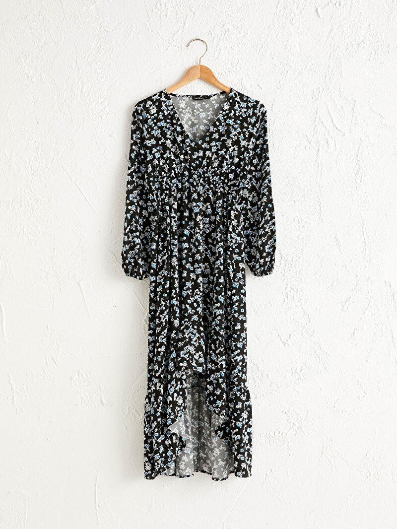 Siyah Çiçekli Viskon Elbise 0WDS88Z8 LC Waikiki