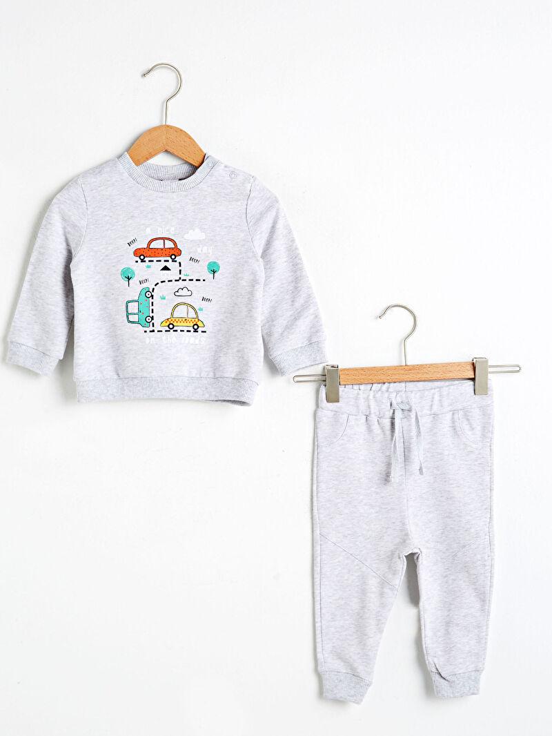 Ekru Erkek Bebek Baskılı Sweatshirt ve Eşofman Altı 0WDT81Z1 LC Waikiki