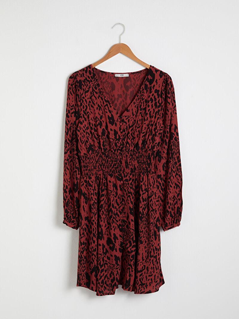 Siyah V Yaka Desenli Elbise 0WEC57Z8 LC Waikiki