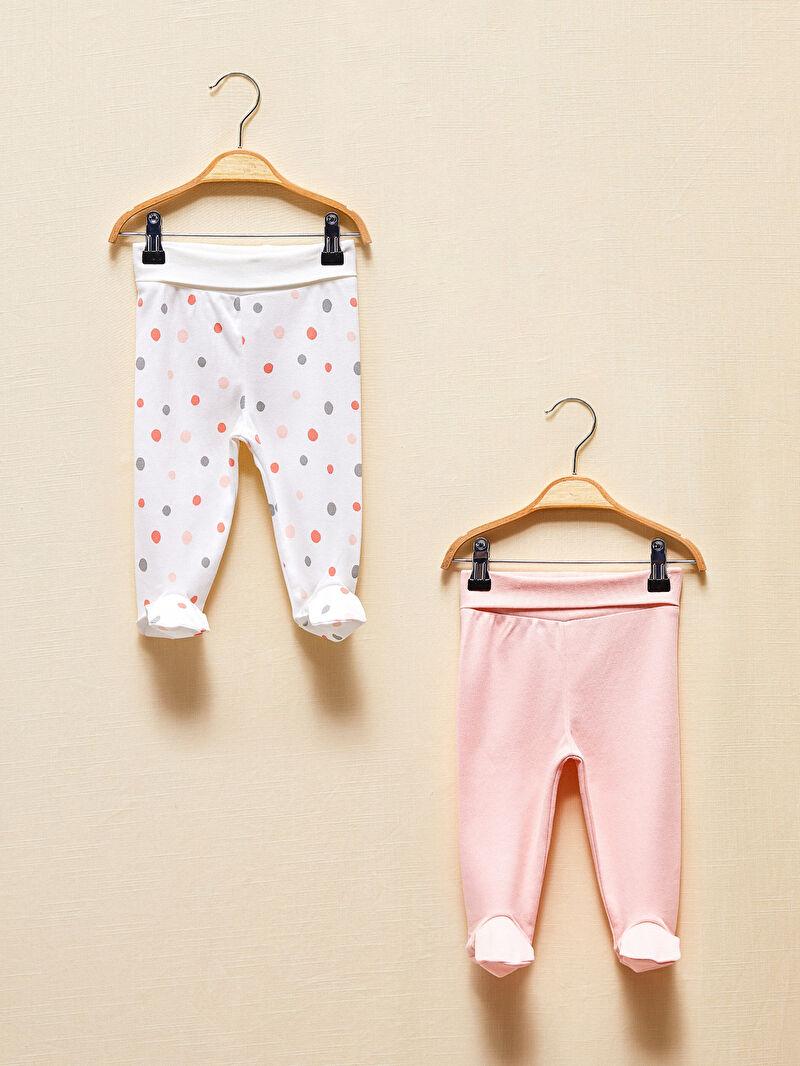 Kız Bebek Çoraplı Organik Pijama Alt 2'li