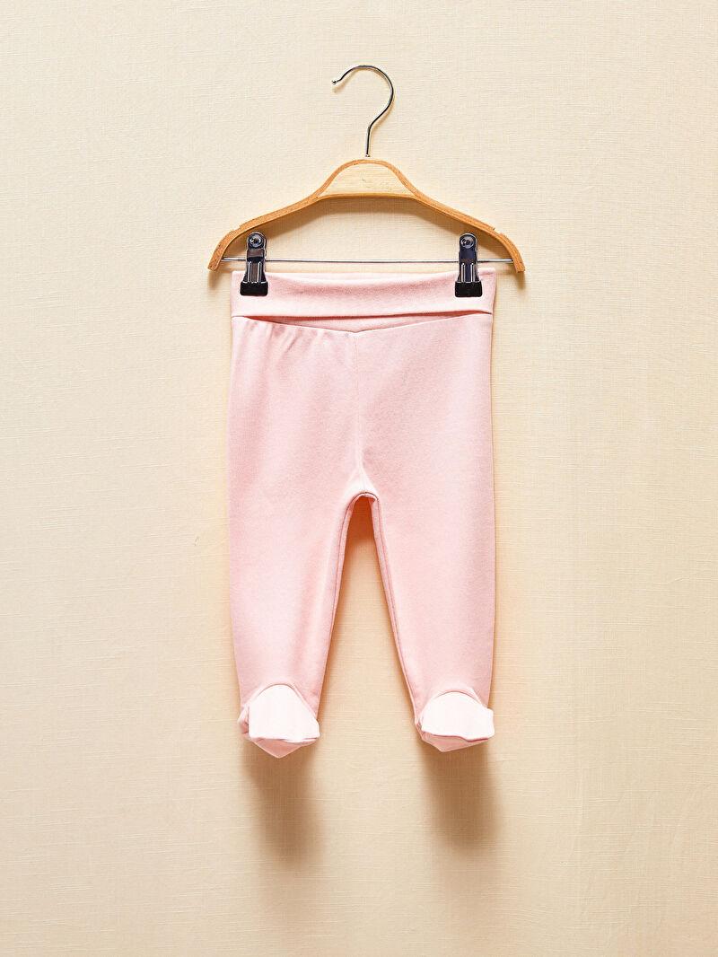 0WEN17Z1 Kız Bebek Çoraplı Organik Pijama Alt 2'li