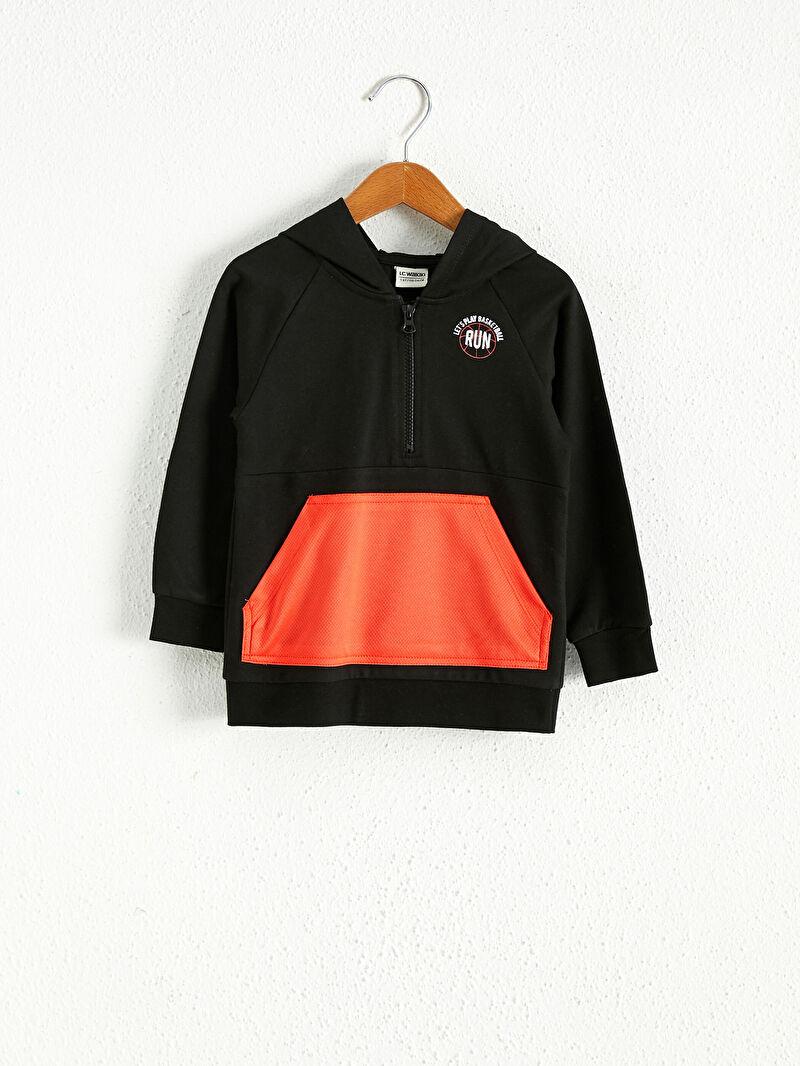 Siyah Erkek Çocuk Kapüşonlu Sweatshirt 0WFB02Z4 LC Waikiki