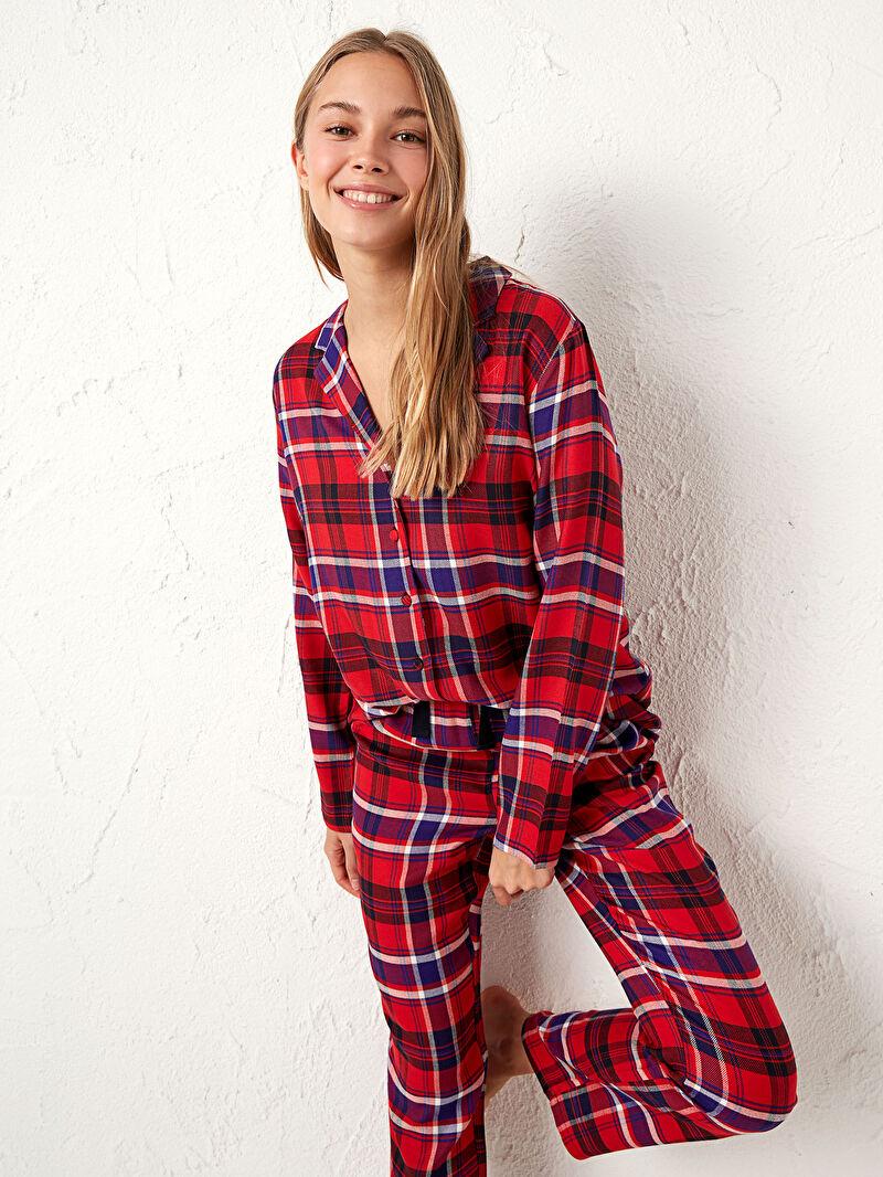 %100 VİSKOZ  %100 VİSKOZ  Ekose Standart Gömlek Yaka İnce Pijama Takım Uzun Uzun Kol Gabardin Flanel Ekose Pijama Takımı