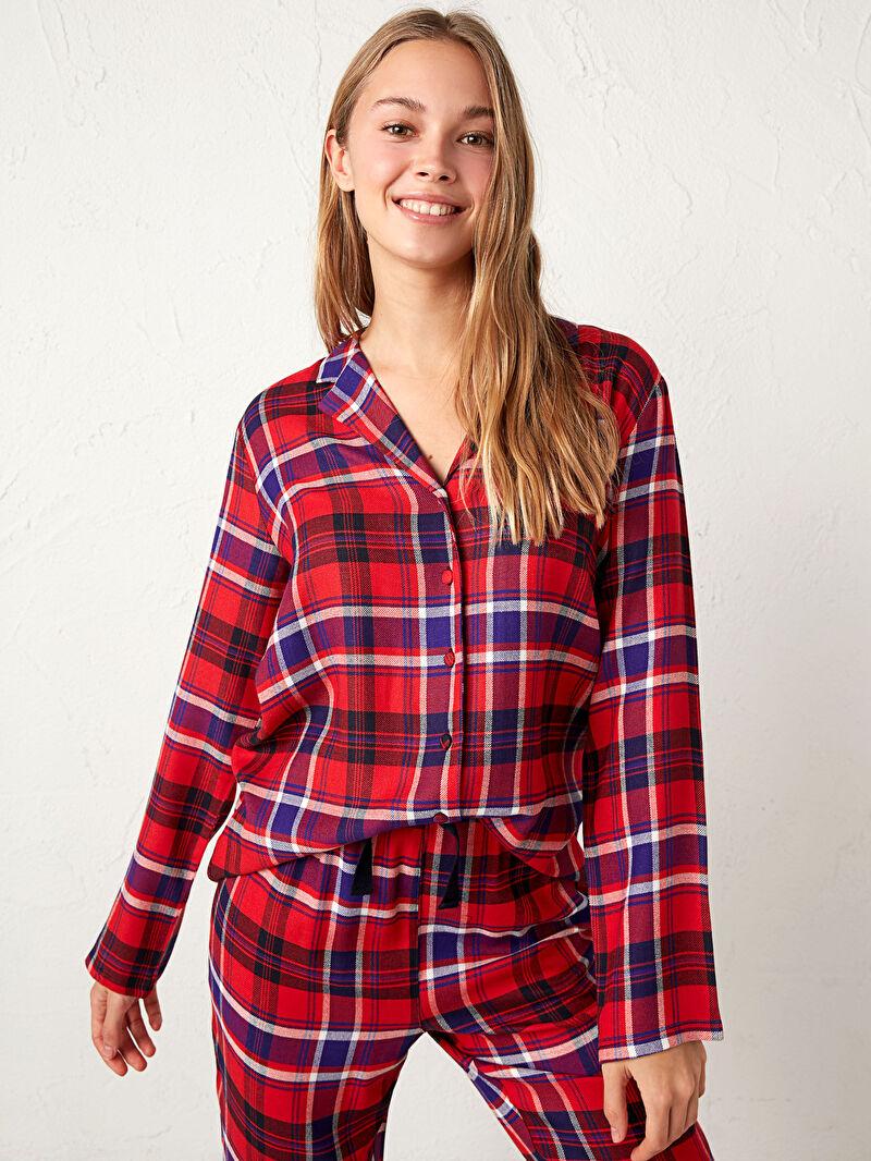 Kadın Flanel Ekose Pijama Takımı