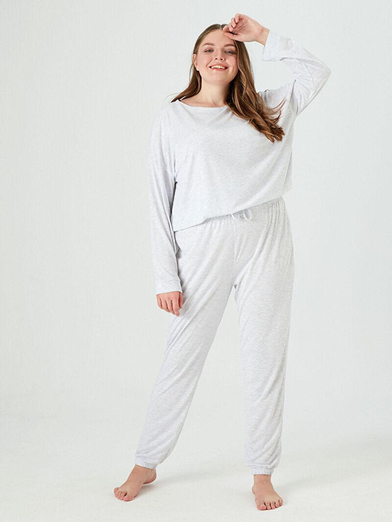 Gri Düz Basic Pijama Takımı 0WFQ17Z8 LC Waikiki