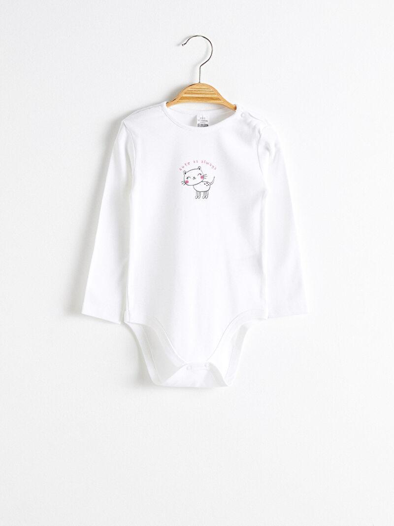 Beyaz Kız Bebek Çıtçıtlı Body 3'lü
