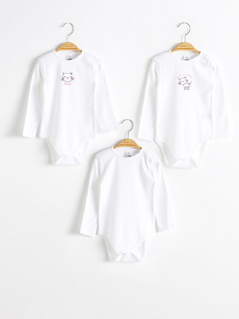Beyaz Kız Bebek Çıtçıtlı Body 3'lü 0WFR89Z1 LC Waikiki