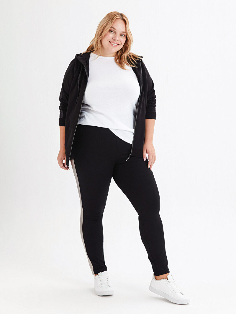 %73 VİSKOZ %24 Polyester %3 ELASTAN  Pantolon Düz Beli Lastikli Şerit Detaylı Pantolon