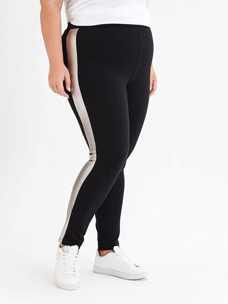 Kadın Beli Lastikli Şerit Detaylı Pantolon