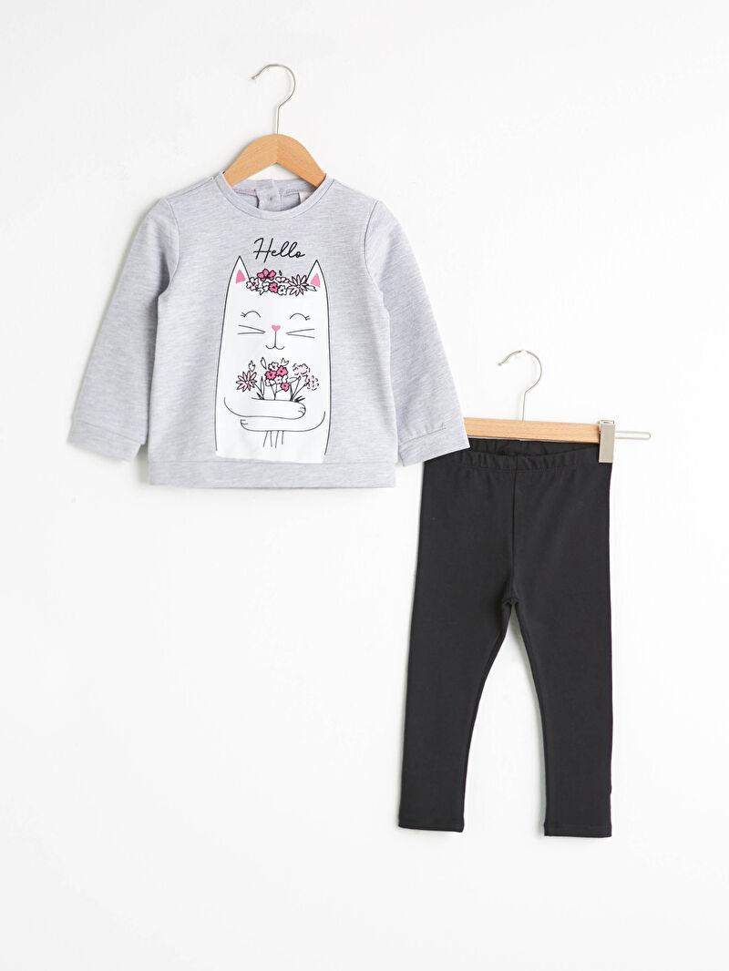 Gri Kız Bebek Baskılı Sweatshirt ve Tayt 0WGF48Z1 LC Waikiki