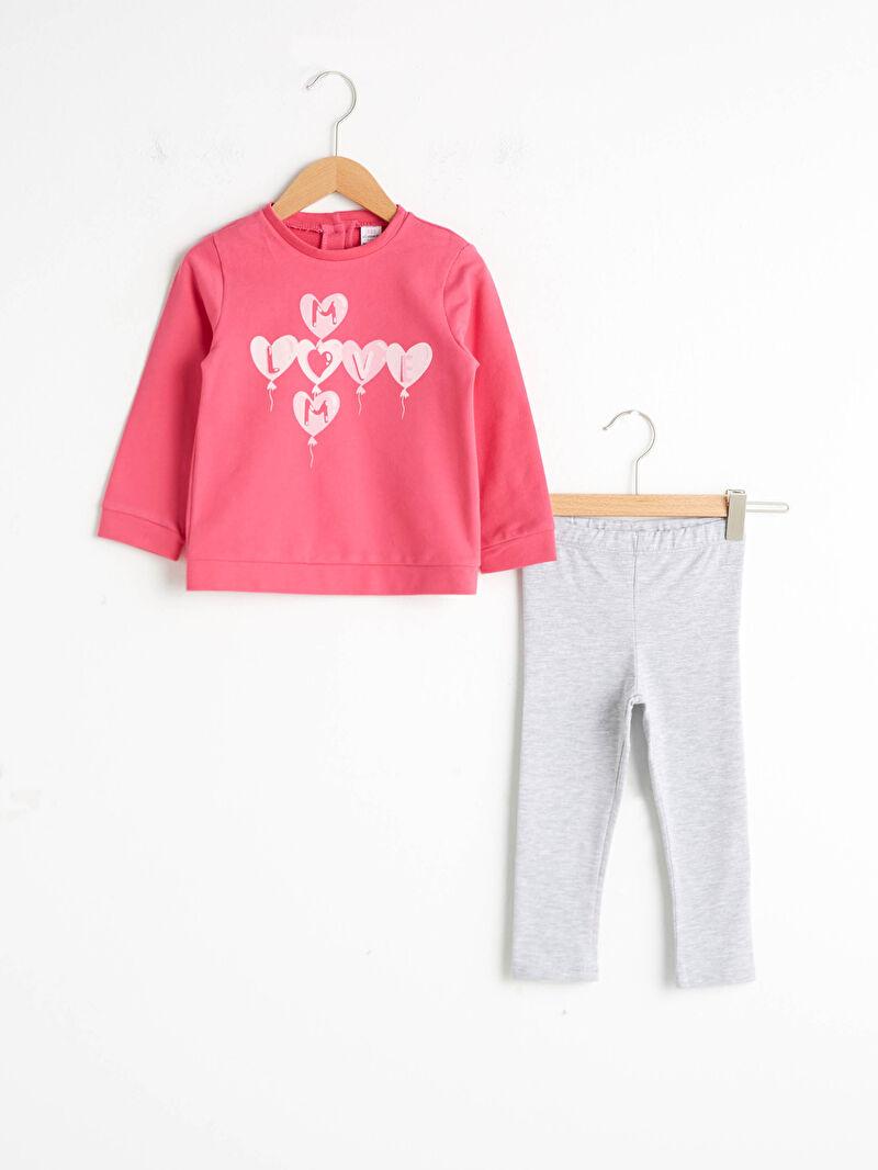 Gri Kız Bebek Baskılı Sweatshirt ve Tayt 0WGF49Z1 LC Waikiki
