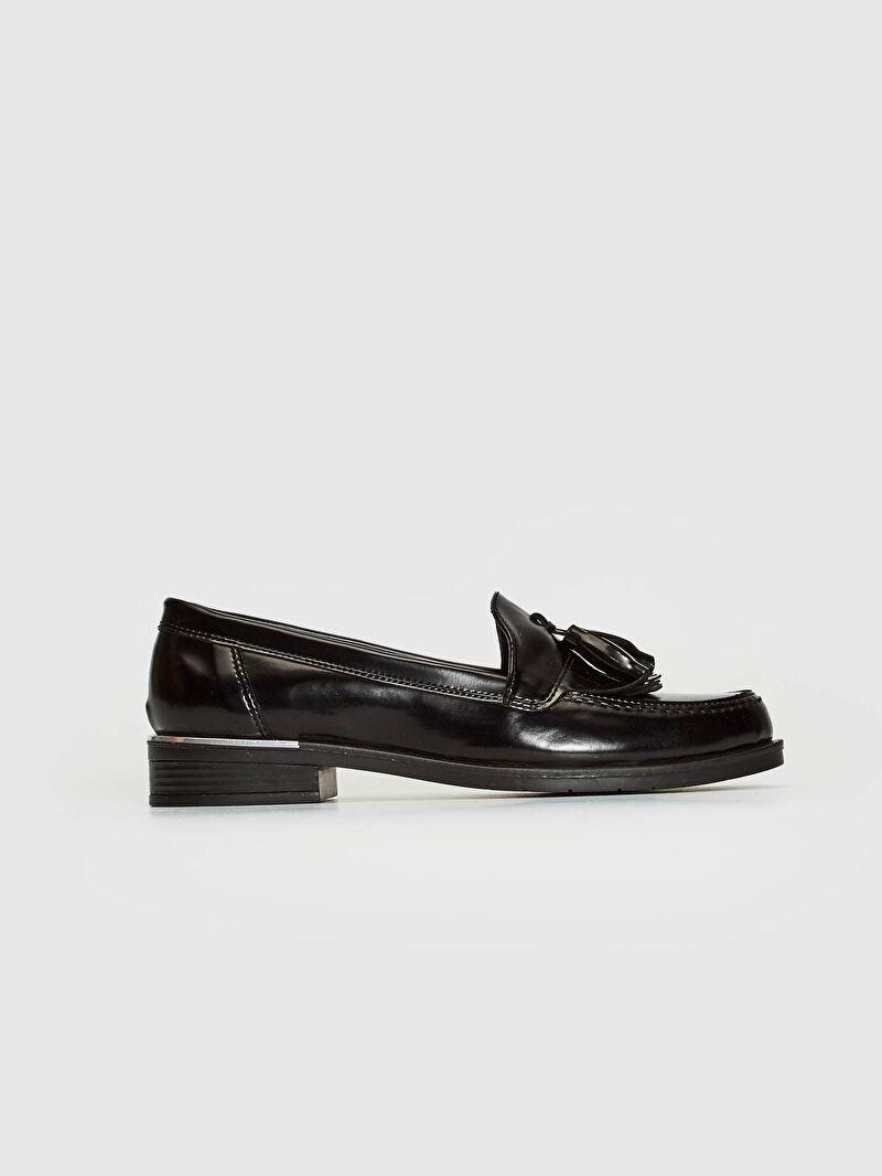 %0 Diğer malzeme (poliüretan)  %0 Diğer malzeme (pvc)  %0 Diğer malzeme (pvc)  Klasik Ayakkabı Kısa Saten Yuvarlak Burun Bol Su Geçirmez 2 cm Bağcıksız Kadın Loafer Ayakkabı