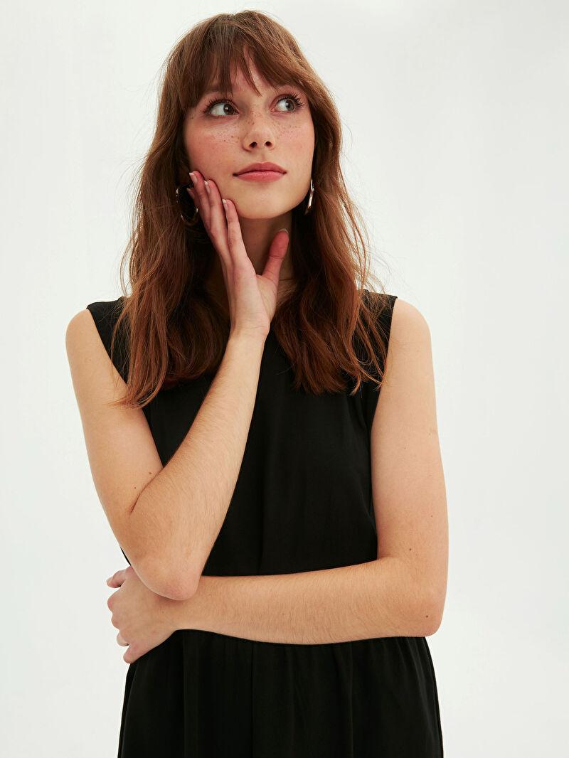 Siyah Basic Pamuklu Kloş Elbise