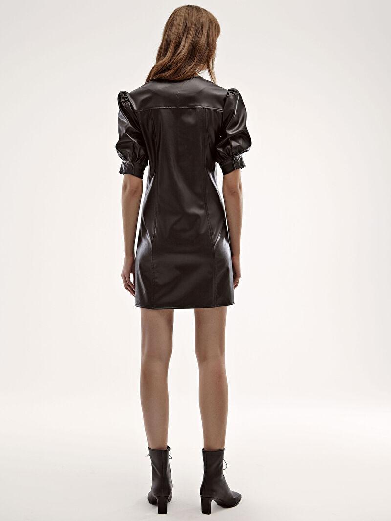 Siyah Deri Görünümlü Önü Fermuarlı Elbise