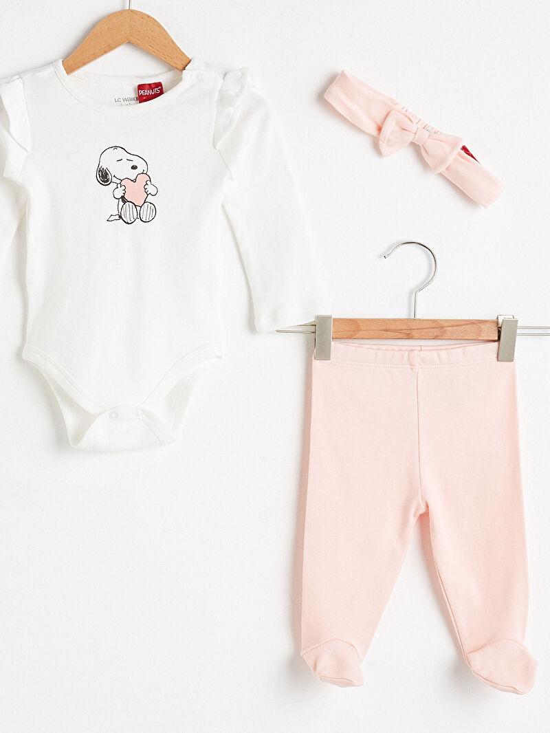 Kız Bebek Kız Bebek Snoopy Baskılı Takım 3'lü
