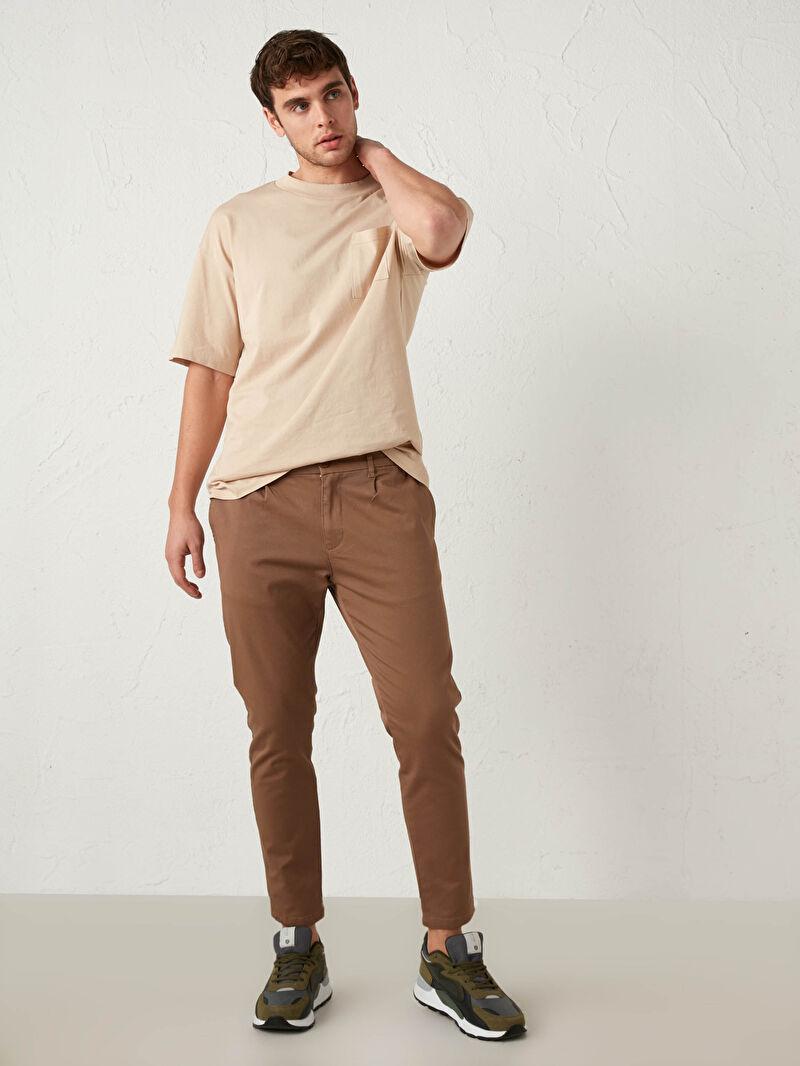 Kahverengi Slim Fit Gabardin Pantolon 0WHJ48Z8 LC Waikiki
