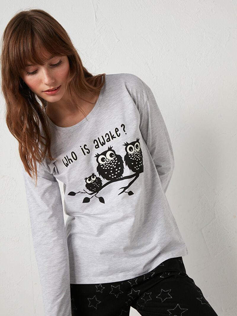 %100 Pamuk  %50 Pamuk %50 Polyester  Desenli %100 Pamuk Standart Pijama Takım Bisiklet Yaka Uzun Kol Penye Desenli Pijama Takımı