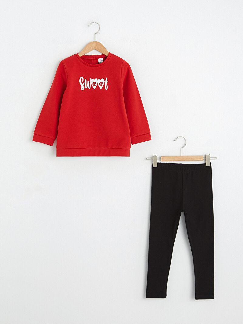 Kırmızı Kız Bebek Sweatshirt ve Tayt 0WHL59Z1 LC Waikiki