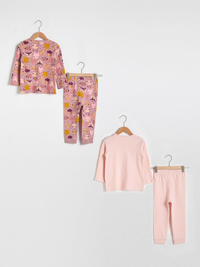 %100 Pamuk  %100 Pamuk  %100 Pamuk Kalın Baskılı Pijama Takım Bisiklet Yaka Uzun Kol Kız Bebek Pijama Takımı 4'lü