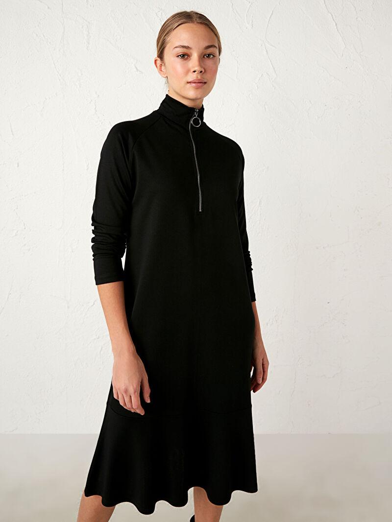 %71 VİSKOZ %26 Polyester %3 ELASTAN  Elbise Kısa Uzun Kol Düz Bol Astarsız Orta Kalınlık Yaka Detaylı Jakarlı Elbise