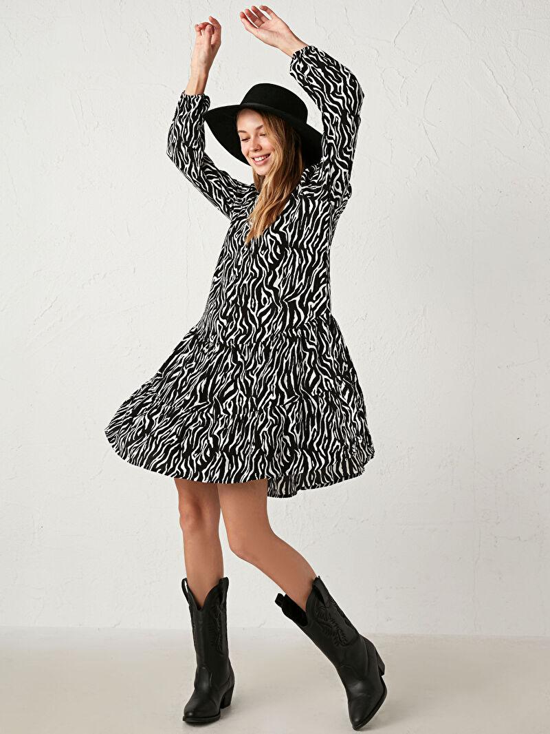 Siyah Leopar Desenli Elbise 0WHV88Z8 LC Waikiki