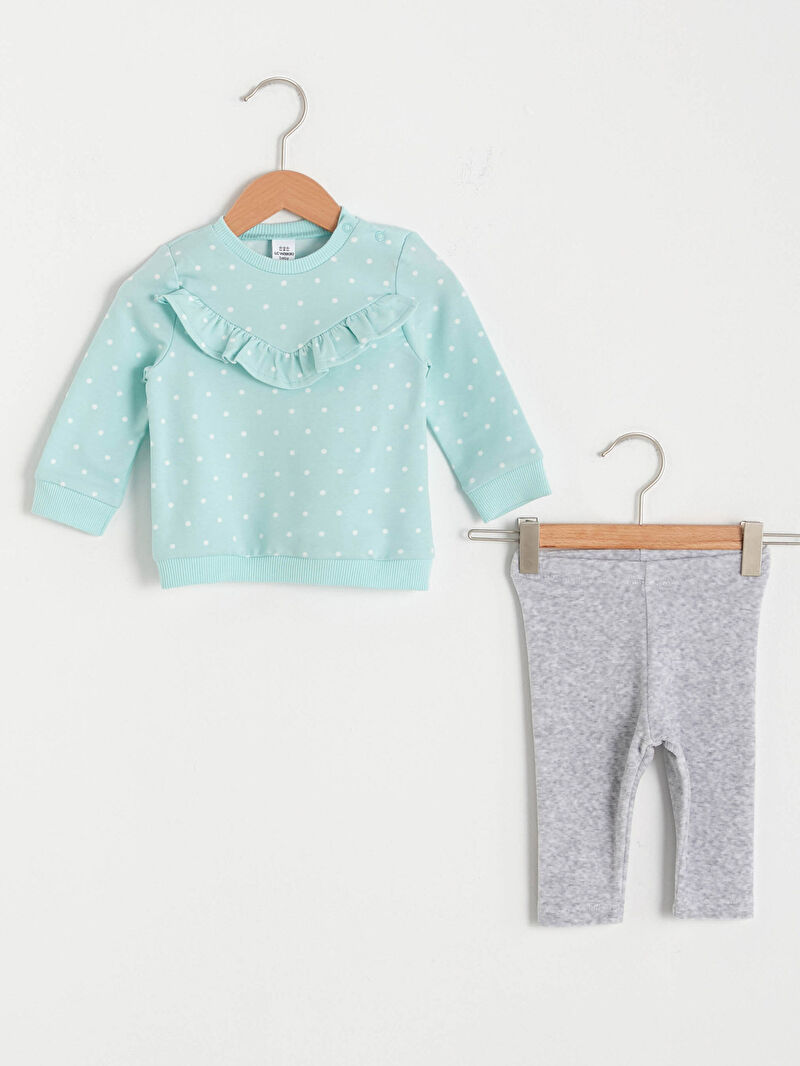 Mavi Kız Bebek Sweatshirt ve Tayt 0WHY07Z1 LC Waikiki