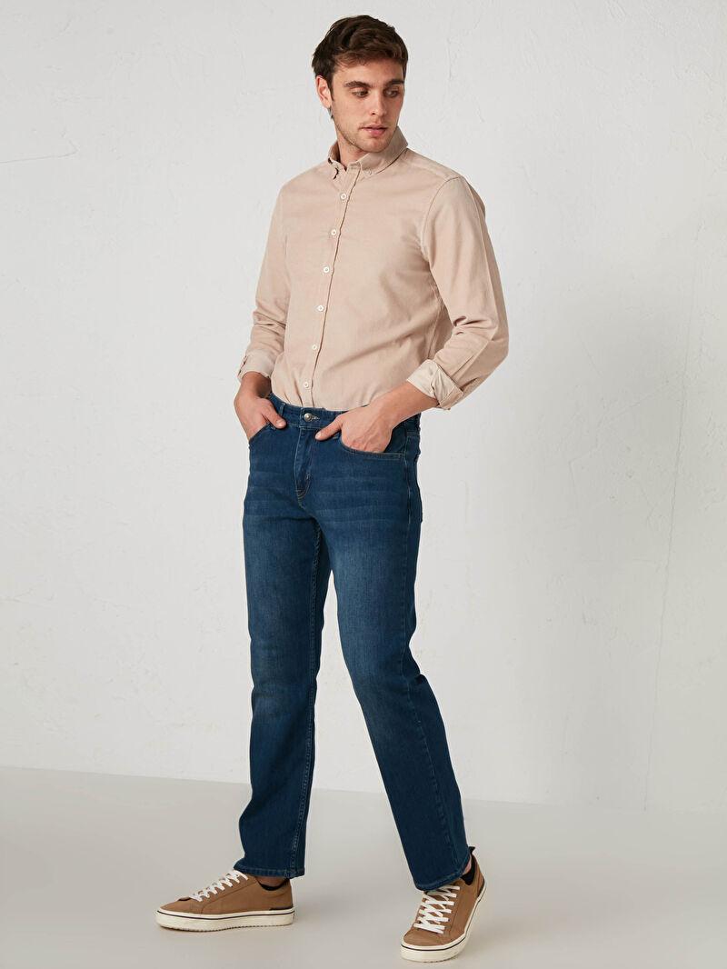 %86 Pamuk %13 Polyester %1 ELASTAN  Yüksek Pamuk İçerir Rahat Kalıp Jean 790 Rahat Kalıp Jean Pantolon