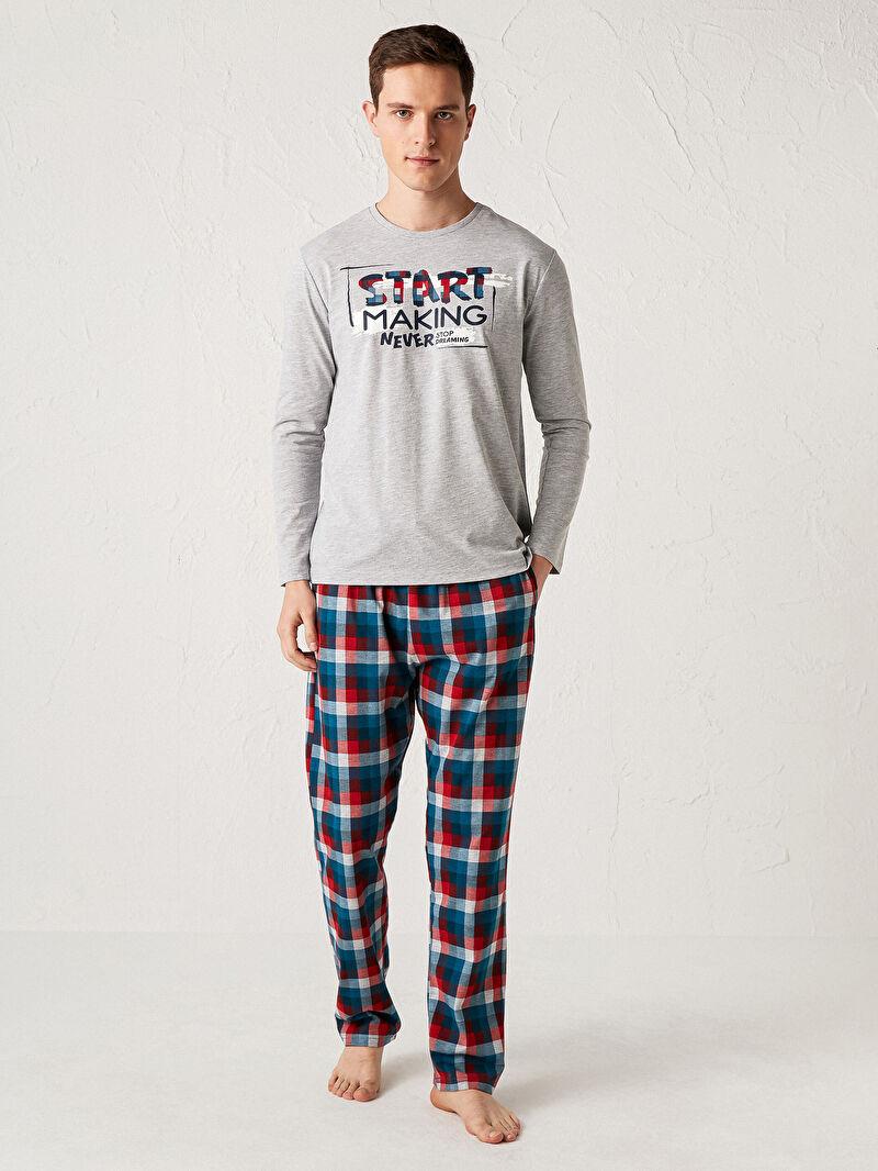 Kırmızı Standart Kalıp Baskılı Pijama Takım 0WIA47Z8 LC Waikiki