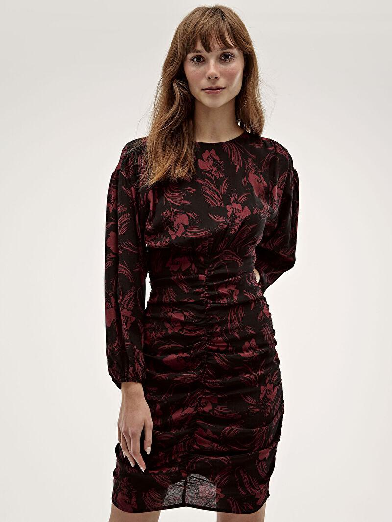 %100 VİSKOZ  Elbise Desenli Orta Kalınlık Uzun Kol Çiçek Desenli Viskon Elbise
