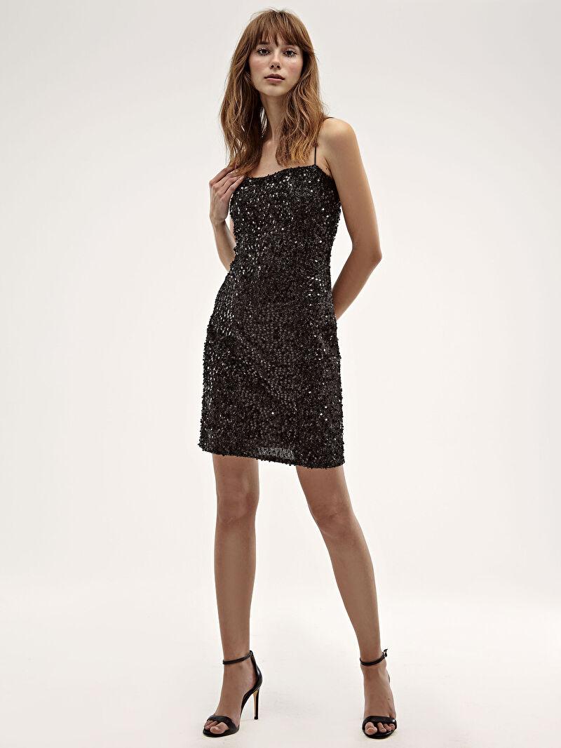 Siyah Desenli Işıltılı Elbise