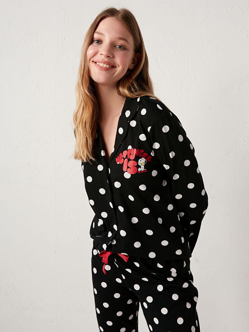 LC Waikiki Siyah Snoopy Baskılı Pijama Takımı