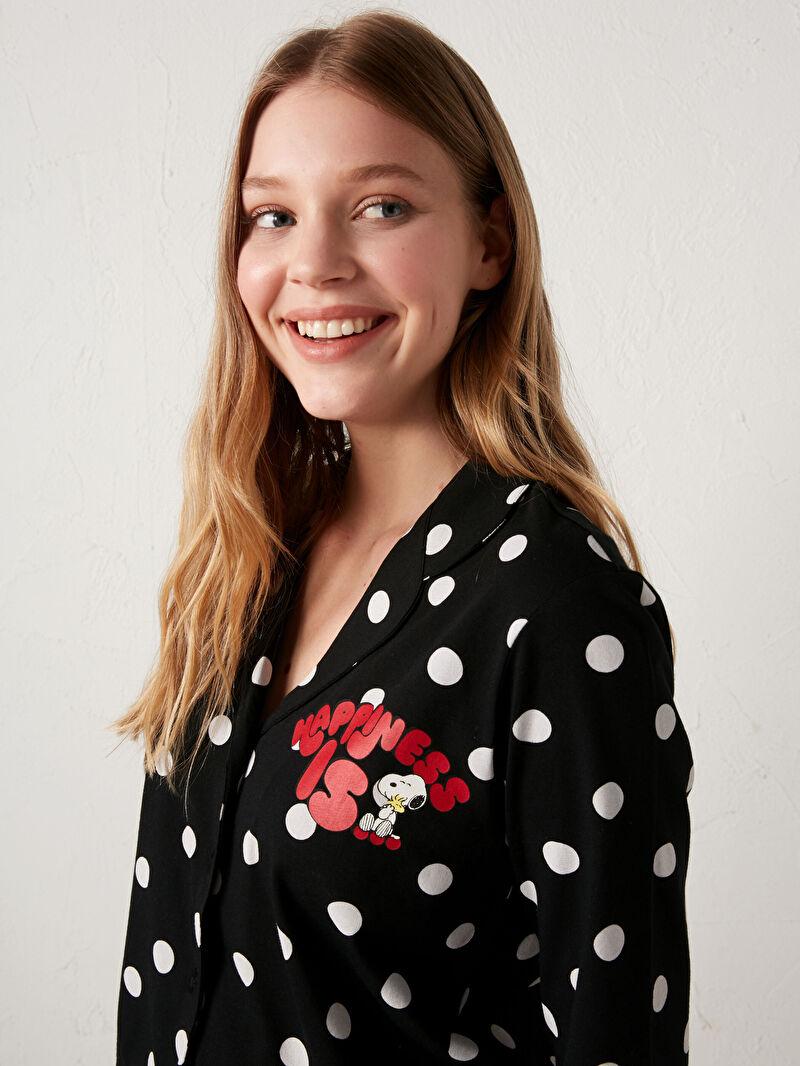 %100 Pamuk  %100 Pamuk  Aksesuarsız Standart Gömlek Yaka İnce Pijama Takım Uzun Kısa Kol Puantiye Penye Snoopy Snoopy Baskılı Pijama Takımı