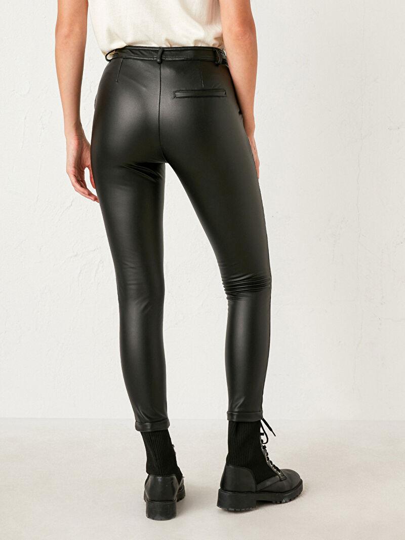 Siyah Nisan Triko Deri Görünümlü Pantolon