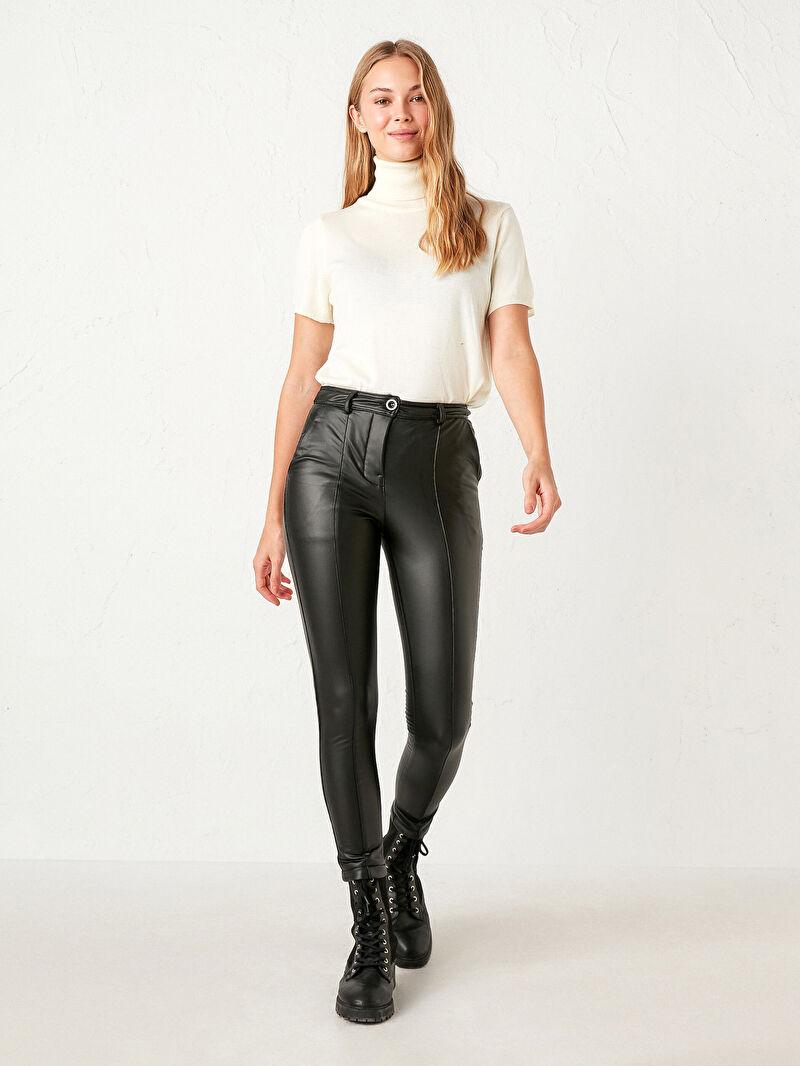 Nisan Triko Deri Görünümlü Pantolon