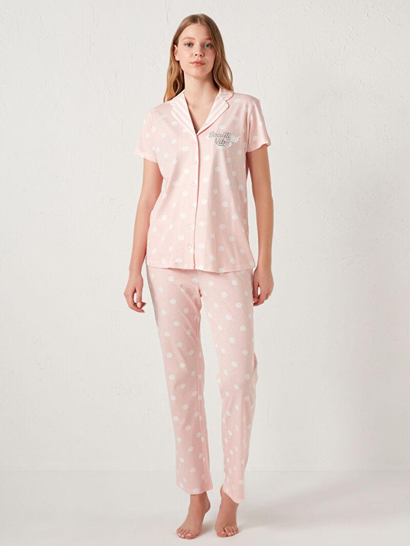Pembe Gömlek Yaka Pamuklu Pijama Takımı 0WIP64Z8 LC Waikiki