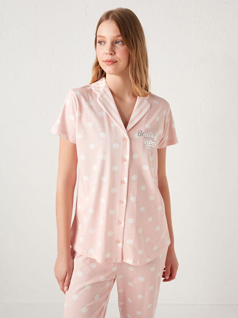 %100 Pamuk  %100 Pamuk  Aksesuarsız Standart Gömlek Yaka İnce Pijama Takım Uzun Kısa Kol Puantiye Penye %100 Pamuk Gömlek Yaka Pamuklu Pijama Takımı