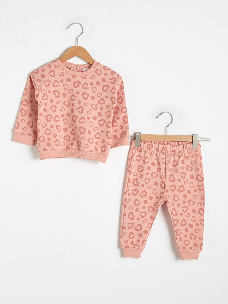 Pembe Kız Bebek Baskılı Sweatshirt ve Pantolon 0WIS90Z1 LC Waikiki
