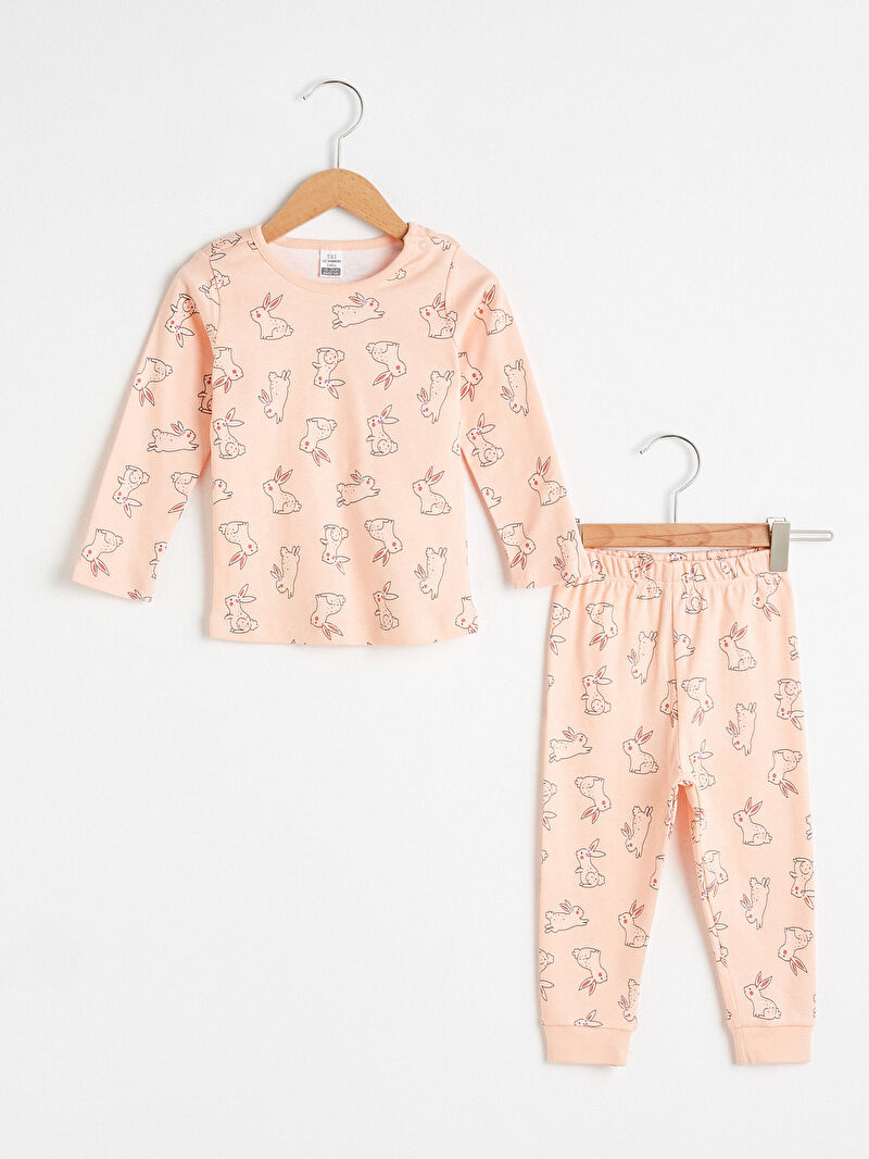 Pembe Kız Bebek Baskılı Pijama Takımı 0WIT69Z1 LC Waikiki
