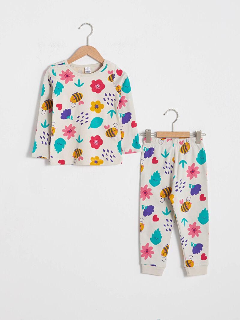 Ekru Kız Bebek Baskılı Pijama Takımı 0WIV33Z1 LC Waikiki