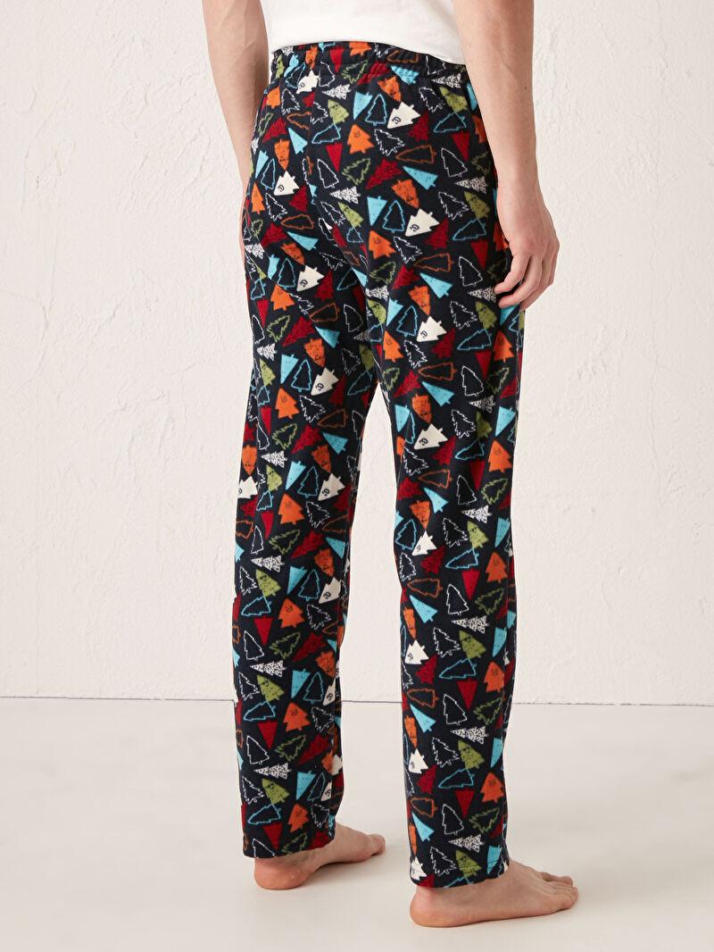 %100 Polyester  Desenli Kalın Standart Pijama Alt Polar Standart Kalıp Polar Pijama Altı