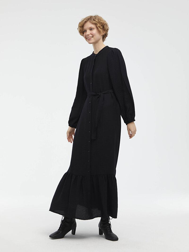 Siyah Beli Bağlama Detaylı Elbise