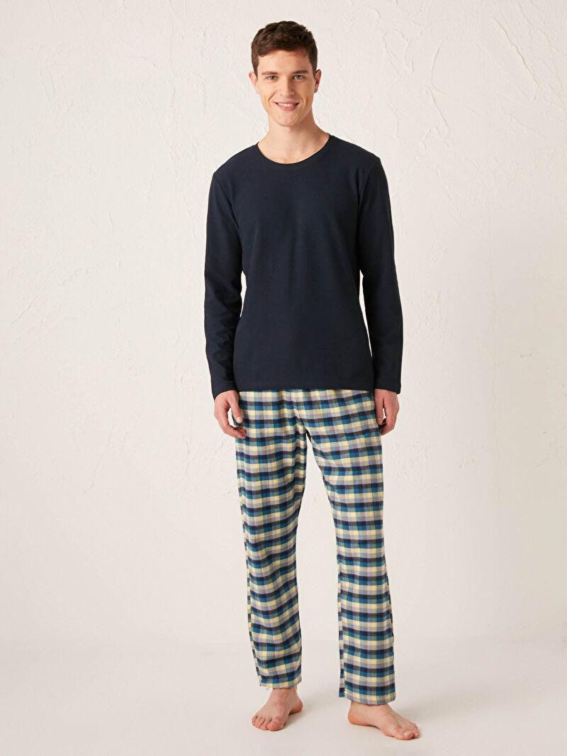 Lacivert Standart Kalıp Pijama Takımı 0WJB28Z8 LC Waikiki