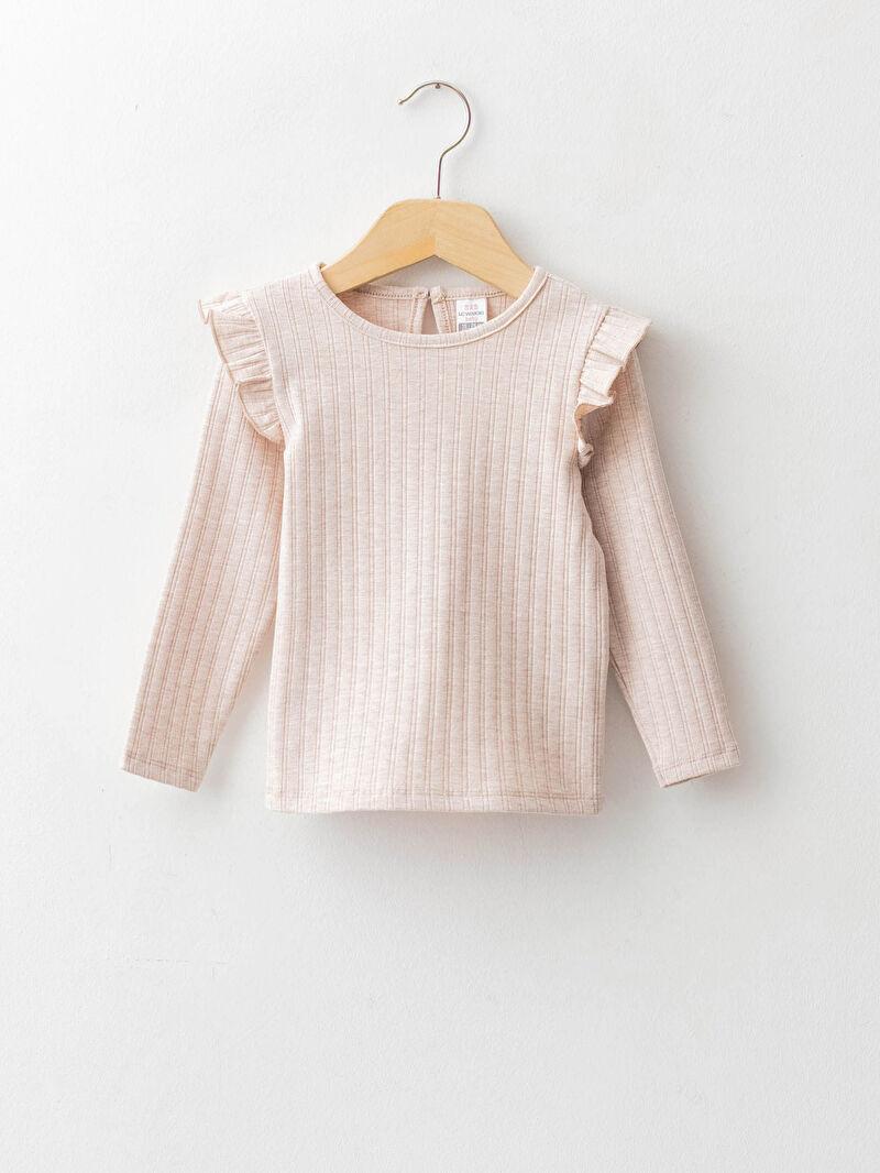 Базовая футболка с круглым вырезом и длинными рукавами для малышей-девочек -W17693Z1-L8Q