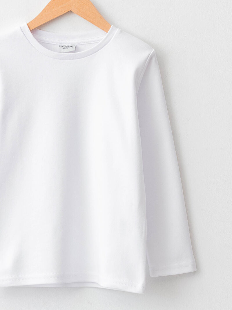 Базовая футболка оверсайз с круглым вырезом и длинным рукавом -W1BE06Z4-R9K