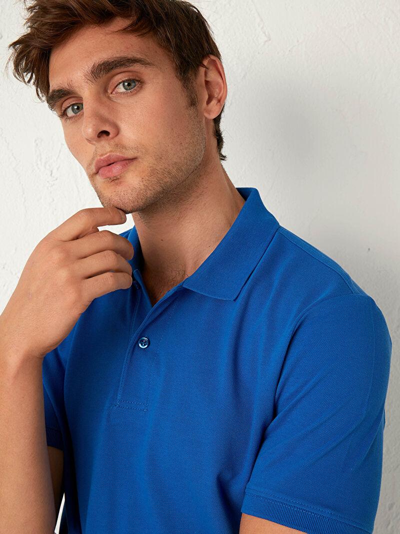 %100 Pamuk  Polo Yaka Pamuklu Tişört