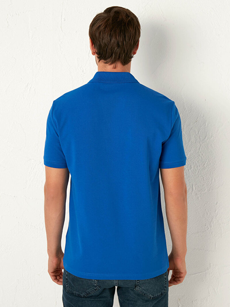 LC Waikiki Mavi Polo Yaka Pamuklu Tişört