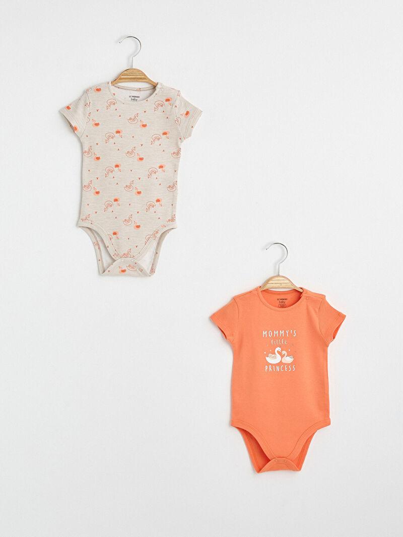 Turuncu Kız Bebek Desenli Çıtçıtlı Body 2'li S10560Z1 LC Waikiki
