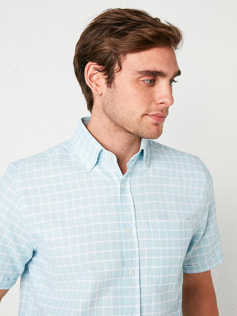 %60 Pamuk %40 Polyester  Gömlek Standart İnce Kısa Kol Regular Fit Kısa Kollu Poplin Gömlek
