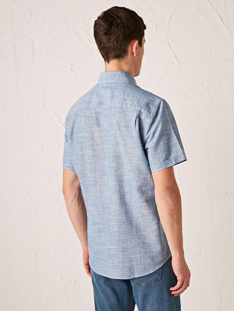 Сорочка з льону з короткими рукавами -S11426Z8-D1Q